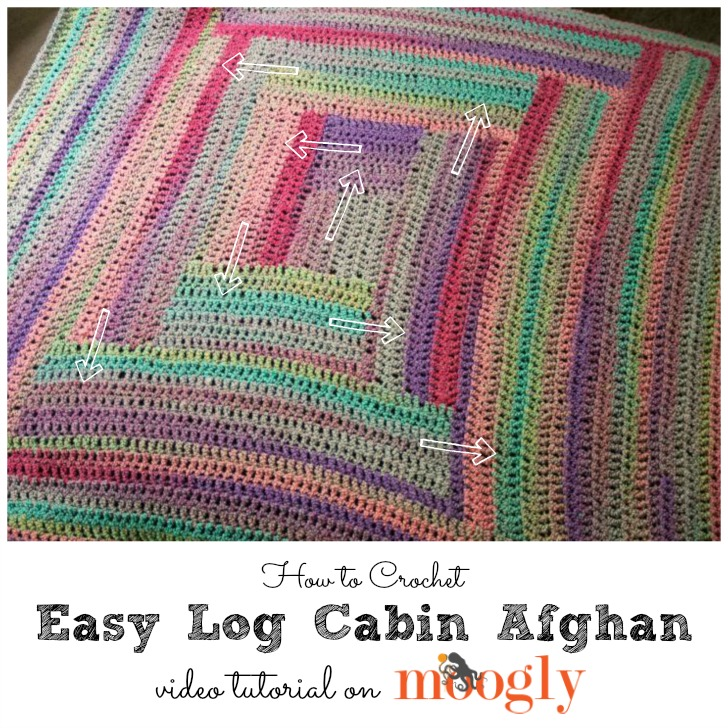 Easy Log Cabin Afghan Tutorial - free video and pattern on Mooglyblog.com!