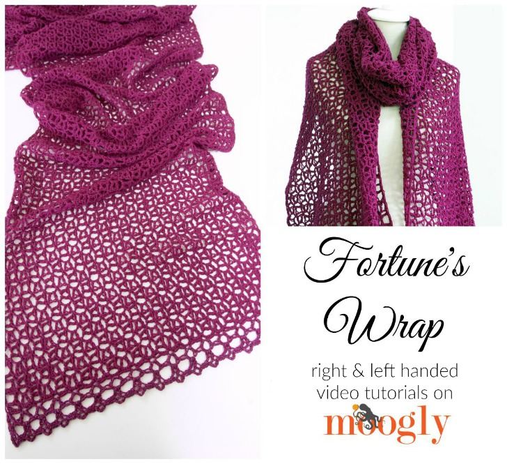 Learn how to crochet Fortune's Wrap (and work corner to corner decreases!) in this Moogly video tutorial!