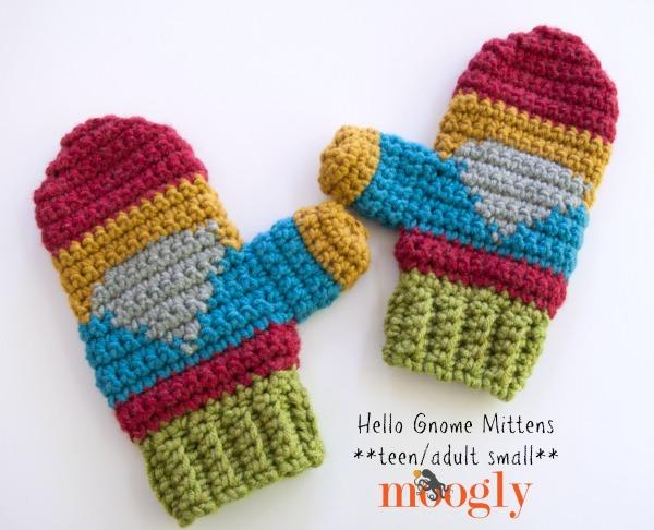 Hello Gnome Mittens! Free crochet pattern on Mooglyblog.com, in 3 sizes!