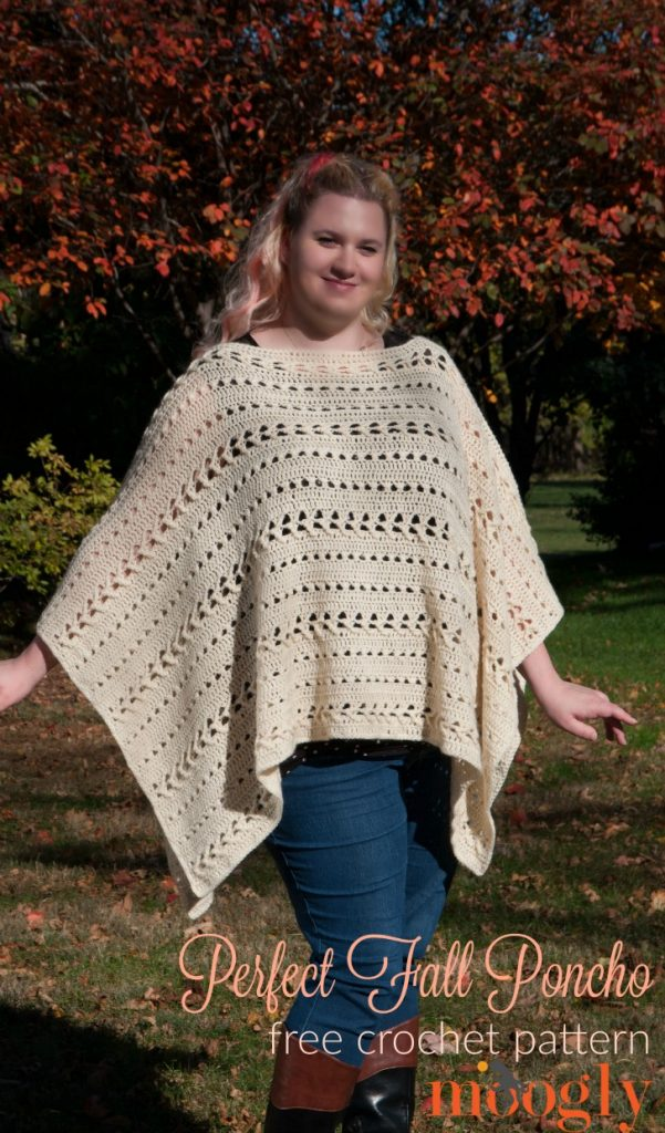 Perfect Fall Poncho - free crochet pattern on Mooglyblog.com