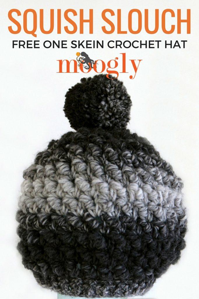 Squish Slouch - free one skein crochet hat pattern on Mooglyblog.com!