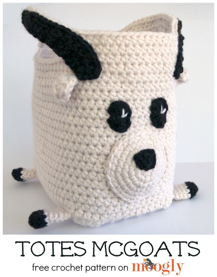 Totes McGoats... yep, it's a goat tote! Free crochet pattern on Mooglyblog.com!