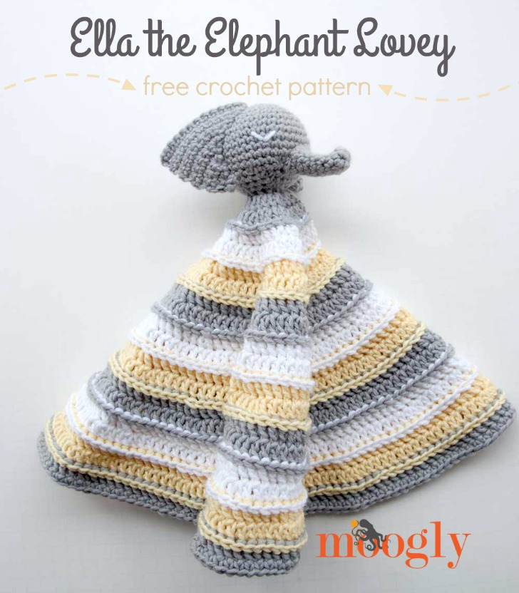 Ella the Elephant Lovey - free crochet pattern on Mooglyblog.com!