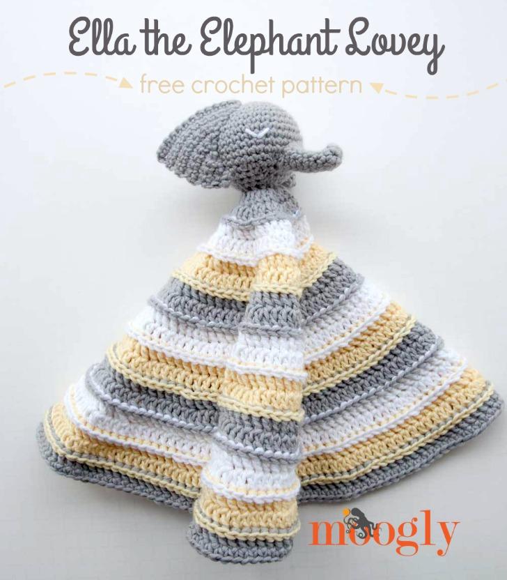 Ella the Elephant Lovey - free crochet pattern on Mooglyblog.com!