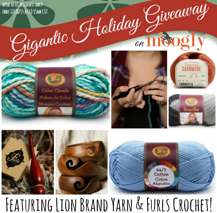 Gigantic Holiday Giveaway on Moogly, featuring LIon Brand Yarn and Furls Crochet Hooks and More! Ends 12/28/15 at 12:15 am CST