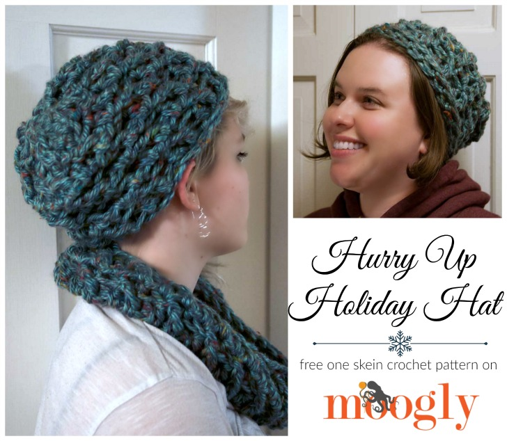 Hurry Up Holiday Hat: FREE one skein crochet pattern you can make in under an hour (and there's a matching cowl too)! Get both patterns on Mooglyblog.com!