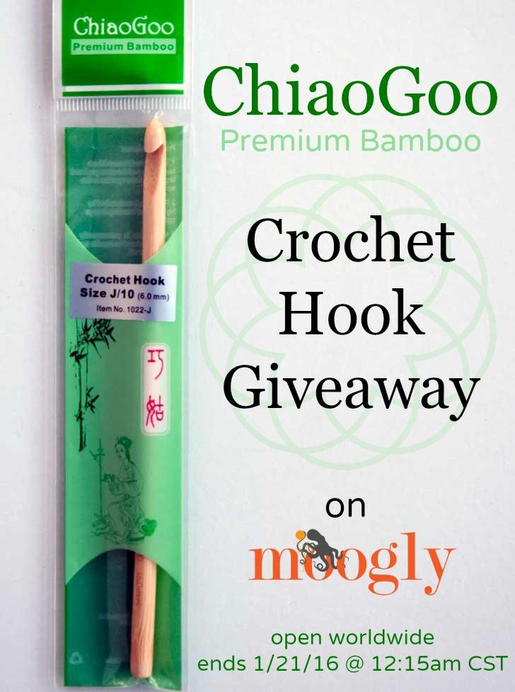 Win a ChiaoGoo Premium Bamboo Crochet Hook on Moogly! Open worldwide, ends 1/21/16 at 12:15am CST!