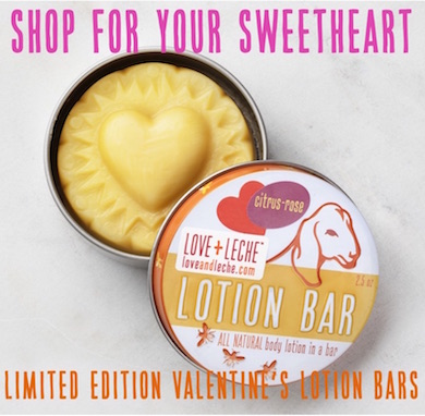 Love + Leche Lotion Bars - the perfect gift for your sweetie's dry hands!