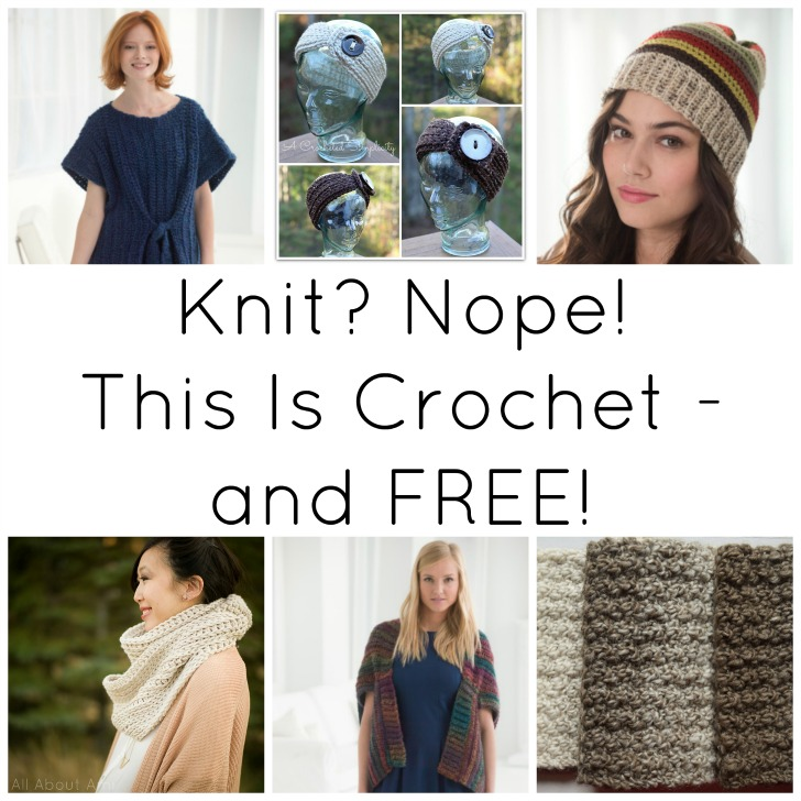 Crochet can do so many things - including looking like knit! Get 6 FREE crochet patterns that fool the eye on Mooglyblog.com!