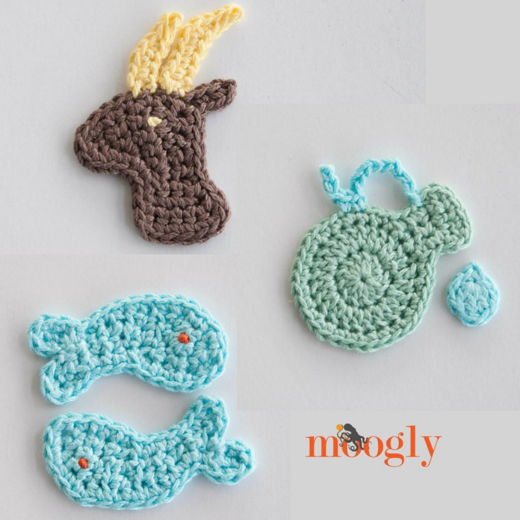 Crochet Patterns For Zodiac Signs : Zodiac Crochet Appliques Set #1: Capricorn, Aquarius, and Pisces ...