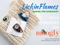 Win one of FIVE shawl pins from LickinFlames.com in a Mooglyblog.com giveaway! Open to US addresses only, ends 8/15/16 at 12:15am CST