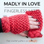 Madly In Love Fingerless Mitts - free crochet pattern for teens and adults on Mooglyblog.com!