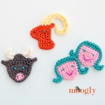 Zodiac Crochet Appliques Set #2: Aries, Taurus, and Gemini