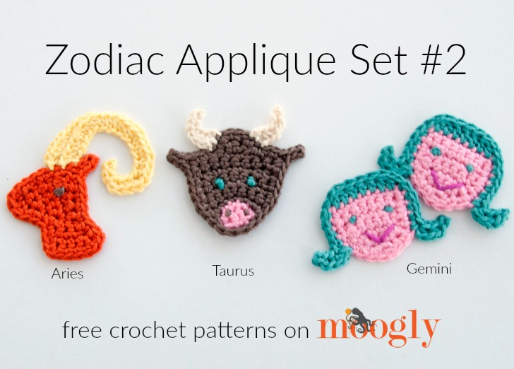 Zodiac Crochet Appliques: FREE on Mooglyblog.com! This set includes Aries, Taurus, and Gemini.