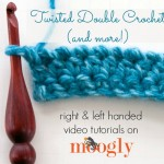 Learn how to crochet the Twisted Double Crochet stitch - and add a twist to almost any stitch! On Mooglyblog.com!