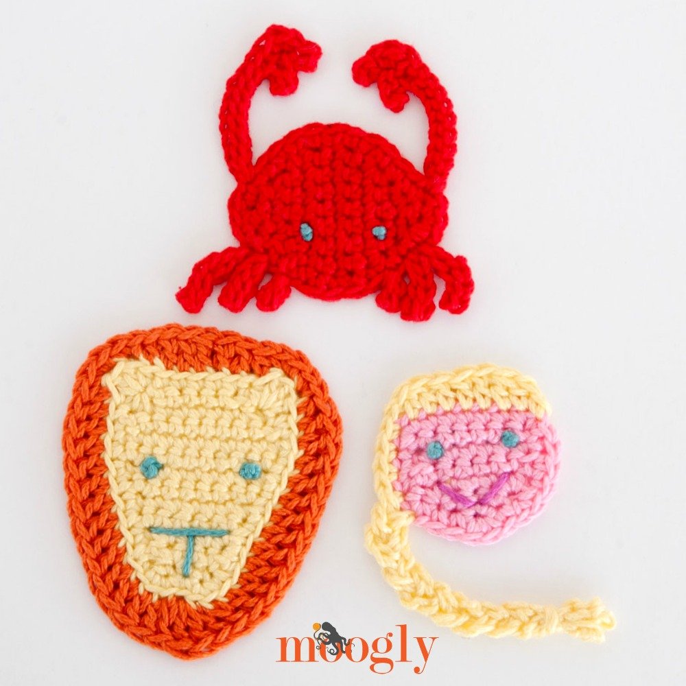 Crochet Zodiac Patterns : Zodiac Crochet Appliques Set #3: Cancer, Leo, and Virgo - moogly