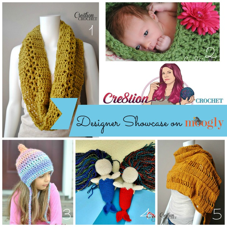 The April Moogly Designer Showcase features Cre8tion Crochet - and 5 FREE crochet patterns!