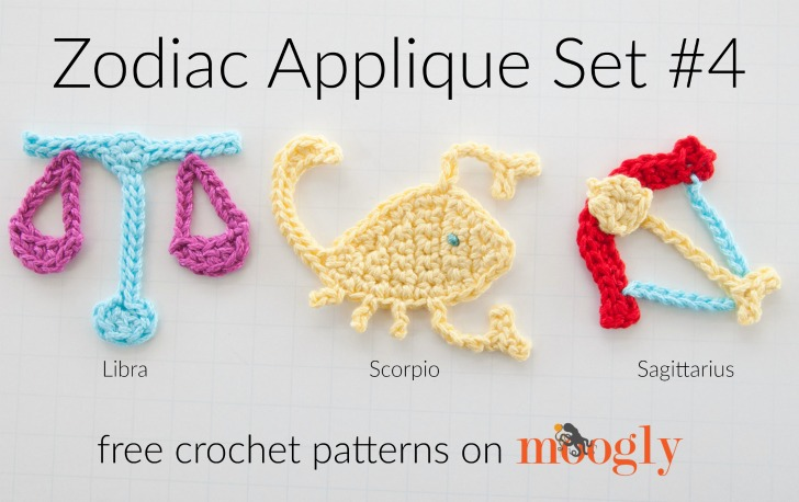 Crochet Patterns For Zodiac Signs : Zodiac Crochet Appliques Set #4: Libra, Scorpio, and Sagittarius ...