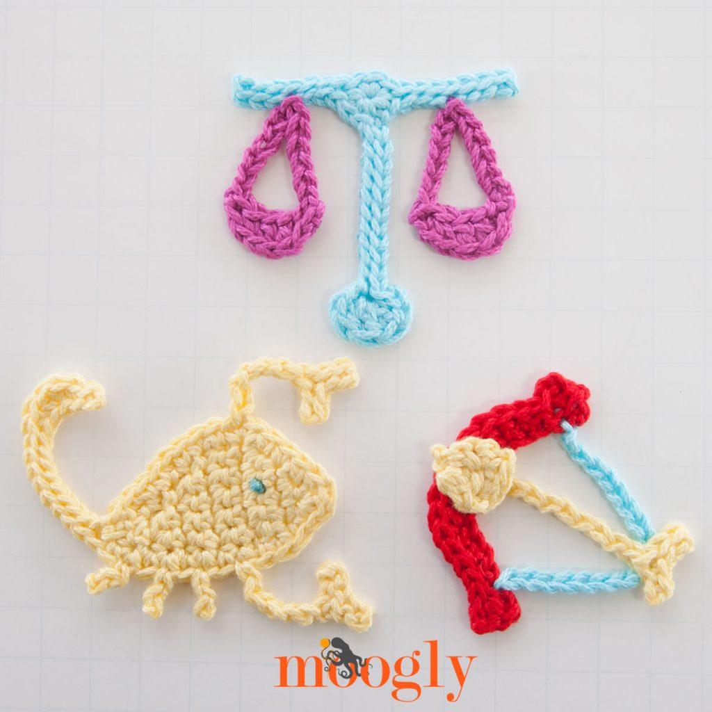 Crochet Patterns For Zodiac Signs : Zodiac Crochet Appliques Set #4: Libra, Scorpio, and ...