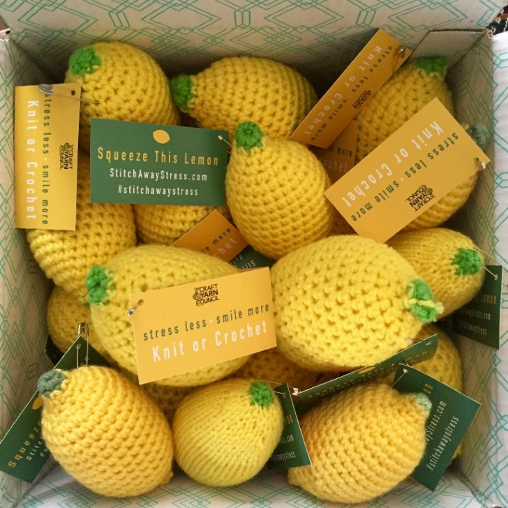 #StitchAwayStress with the #CYClemondrop! Crochet or knit lemons stress balls to calm yourself or others during National Stress Awareness Month! FREE patterns!