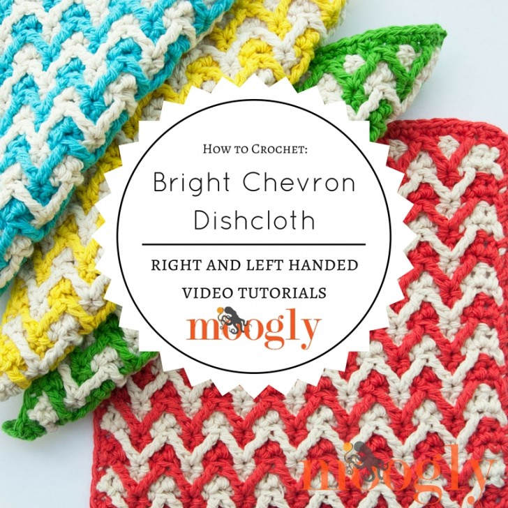Learn how to crochet the Bright Chevron Dishcloth pattern - free on Mooglyblog,com!