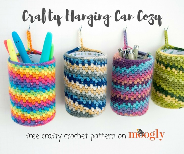 Crafty Hanging Can Cozy - free crafty crochet pattern on Mooglyblog.com!