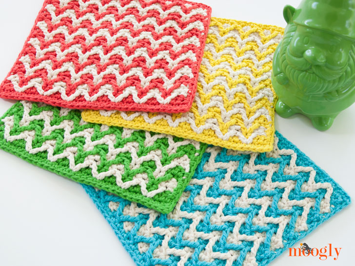 Bright Chevron Dishcloth Moogly Impressive Best Crochet Dishcloth Pattern