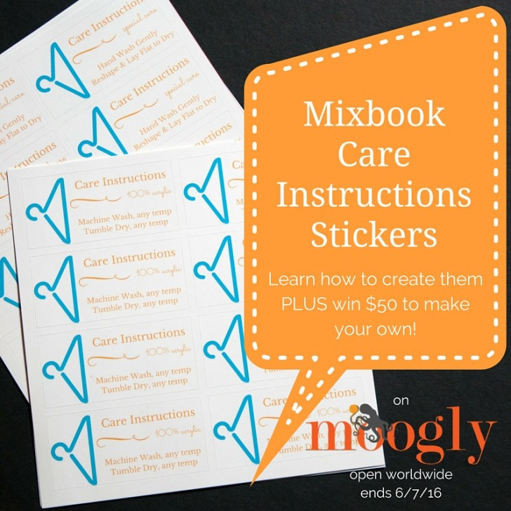 Learn how to make your own care instructions stickers for your crochet and knit items on Mixbook - and win $50 to play with on their site! Giveaway open worldwide, ends 6/7/16