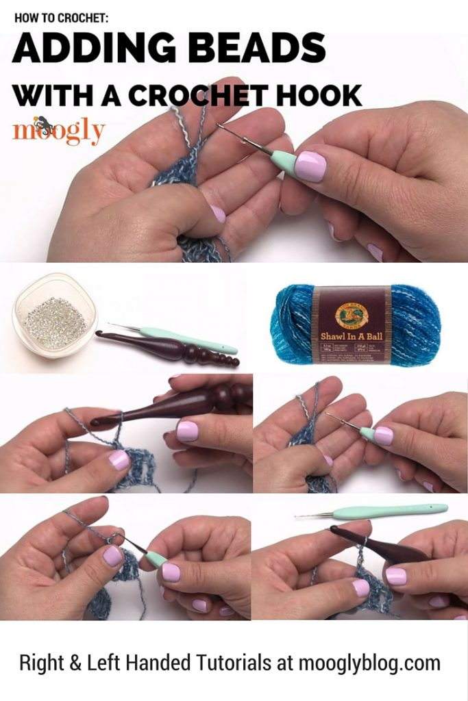 Put a little sparkle on it! Add beads to your crochet with a crochet hook - fast and easy, tutorial on Mooglyblog.com!