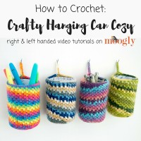 Learn how to crochet the Crafty Hanging Can Cozy with this Moogly Tutorial!