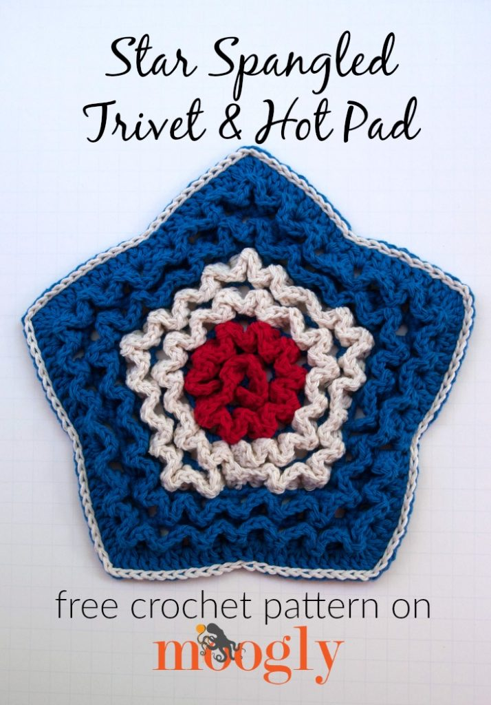 Star Spangled Trivet and Hot Pad - free crochet pattern on Mooglyblog.com!