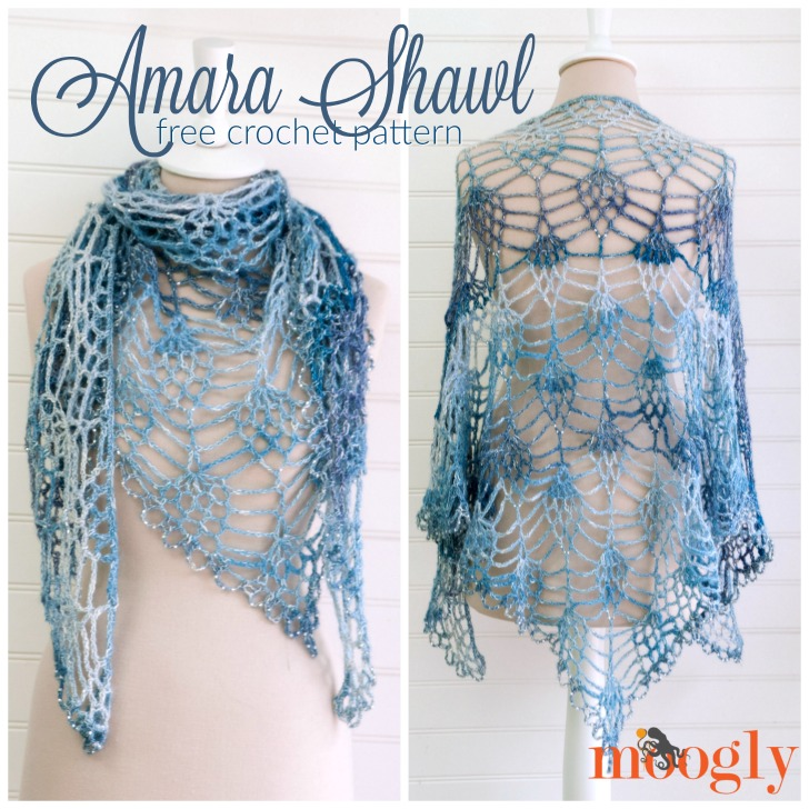 Amara Shawl - free one skein crochet pattern on Mooglyblog.com!