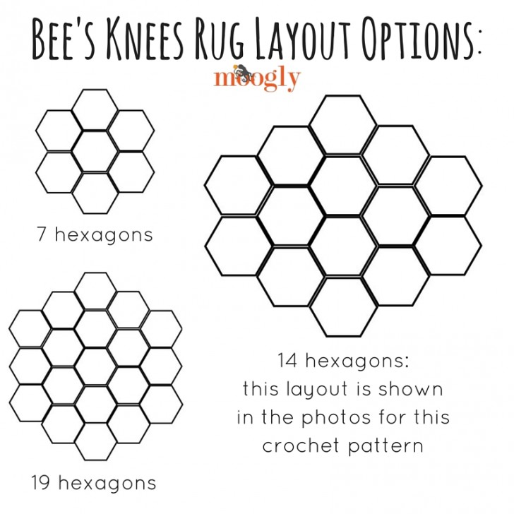What size of the Bee's Knees Crochet Rug do you need? Figure out your layout on Mooglyblog.com!