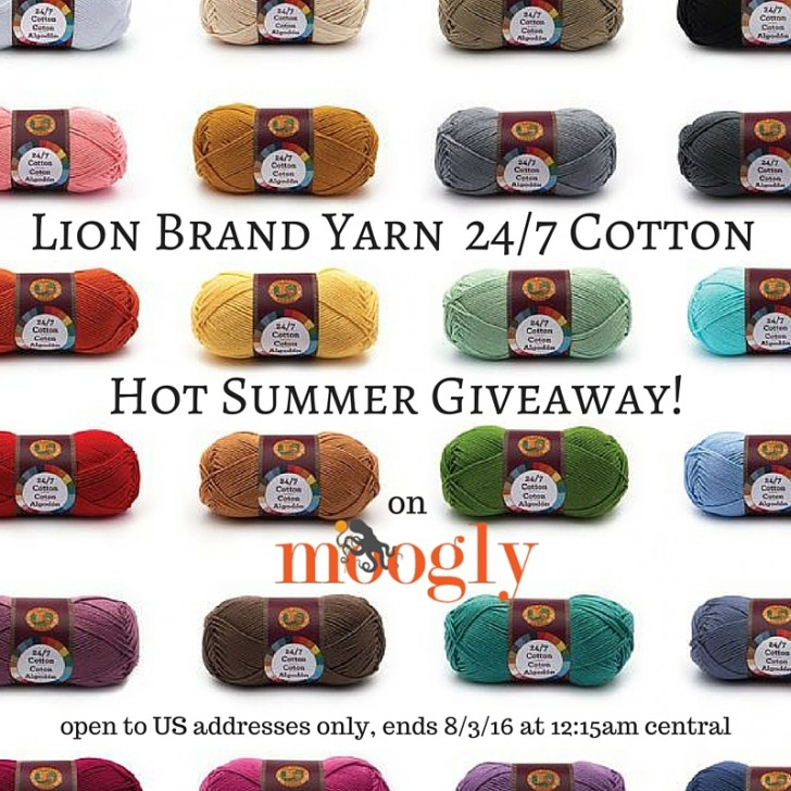 Win Lion Brand Yarn 24/7 Cotton on Moogly! Open to US addresses only, ends 8/3/16 at 12:15am central US time.