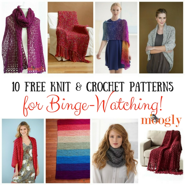 10 Free Knit & Crochet Patterns for Binge-Watching! Get the collection on Mooglyblog.com!