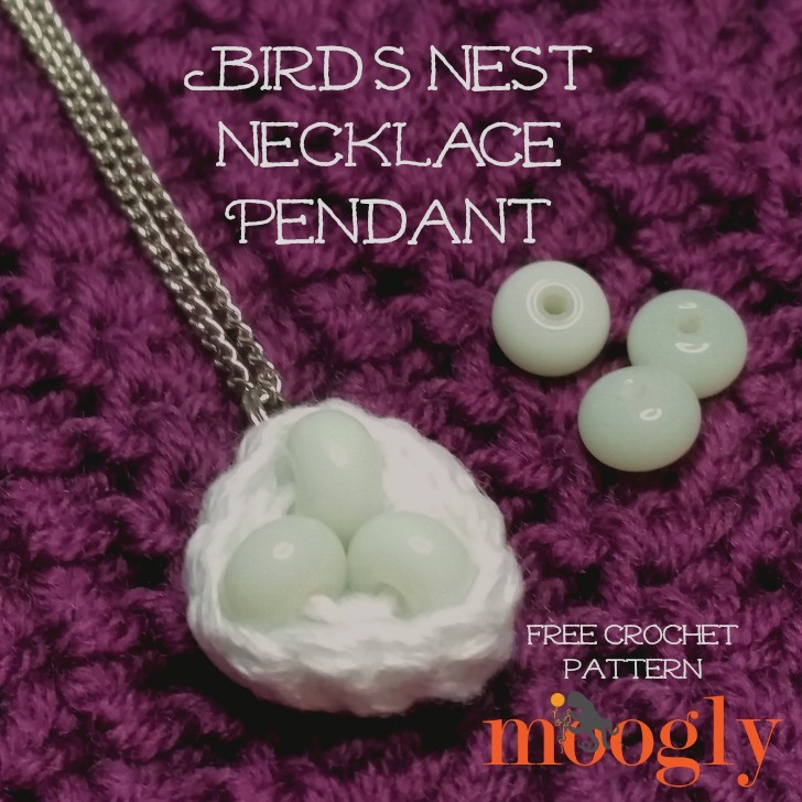 Bird's Nest Necklace Pendant - free crochet pattern on Mooglyblog.com!