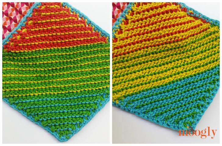 Cro-Hook Dishcloth - pattern by Kim Guzman; Lion Brand Kitchen Cotton; Denise2Go Double Ended Tunisian Hooks
