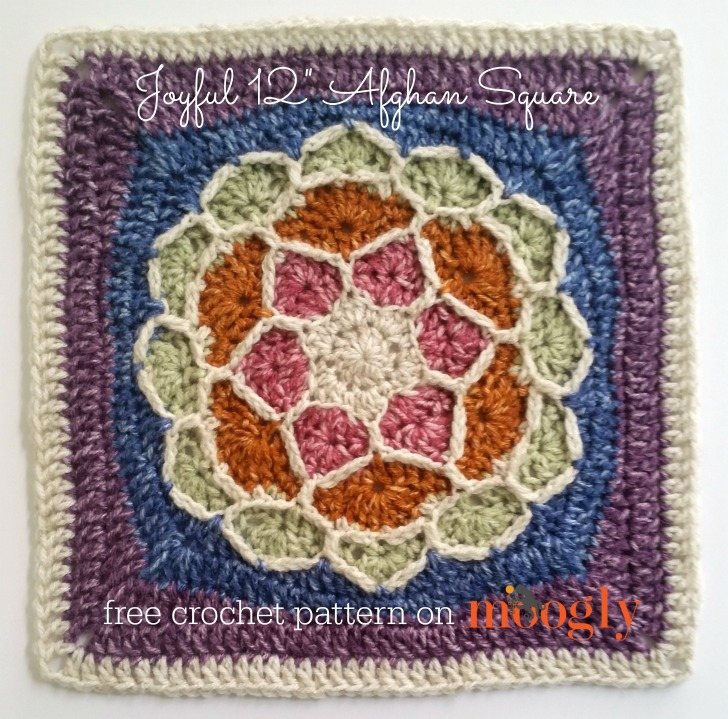 "Joyful Square - beautiful FREE 12"" crochet square pattern on Moogly!"
