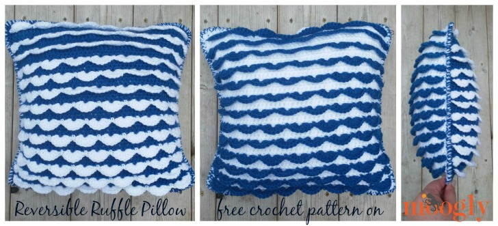 Reversible Ruffle Pillow - free crochet pattern on Mooglyblog.com!