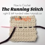 The Running Stitch - video tutorial on Mooglyblog,com (right and left handed!)