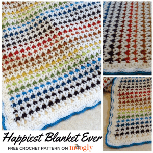 Happiest Blanket Ever - free crochet pattern on Mooglyblog.com!
