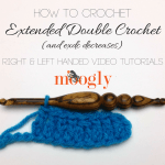 Learn how to crochet the extended double crochet stitch with a Moogly video tutorial!