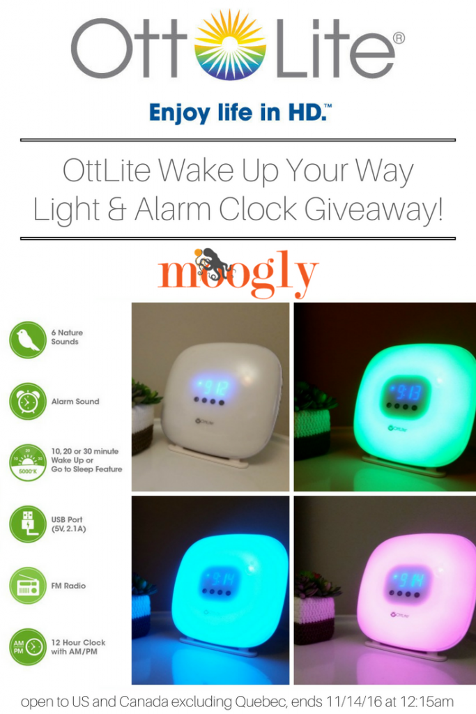 Win the OttLite Wake Up Your Way Light & Alarm Clock in a Moogly Giveaway! Open to the US and Canada (excluding Quebec), ends 11/14/16 at 12:15am Central US time.