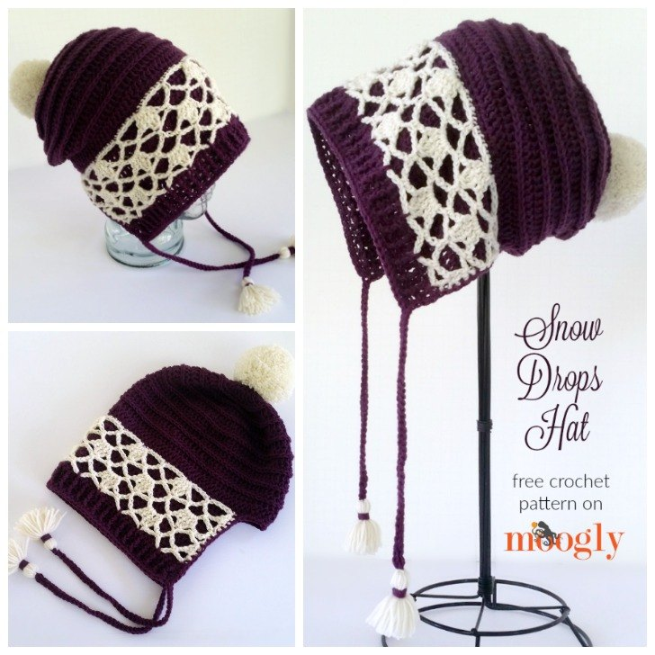 Snow Drops Hat - free crochet pattern on Moogly!