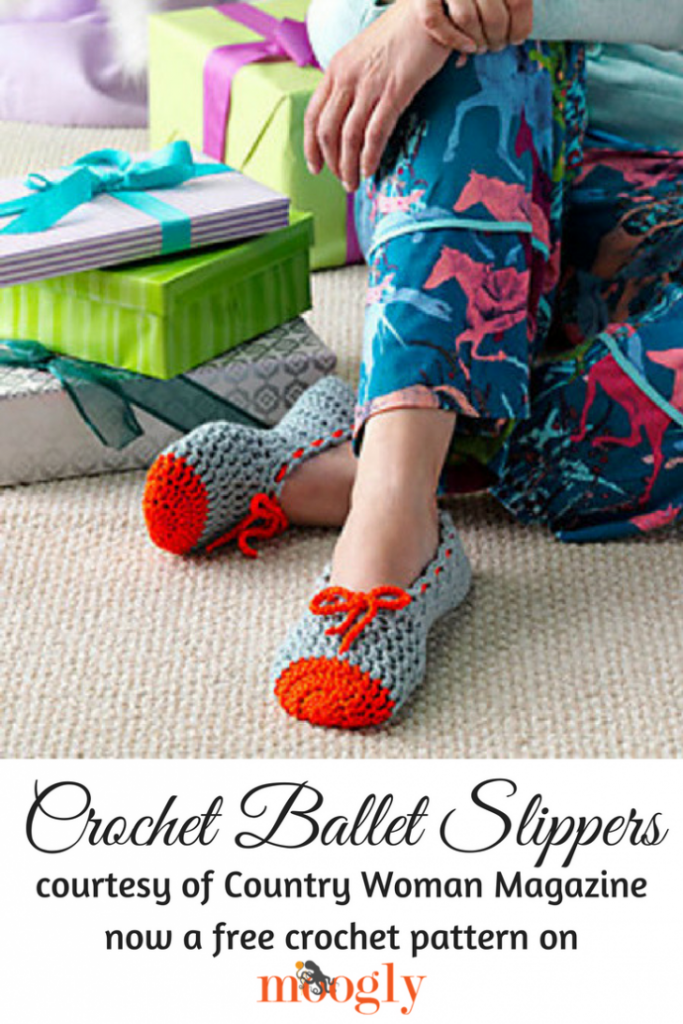 Crochet Ballet Slippers - free pattern on Mooglyblog.com!
