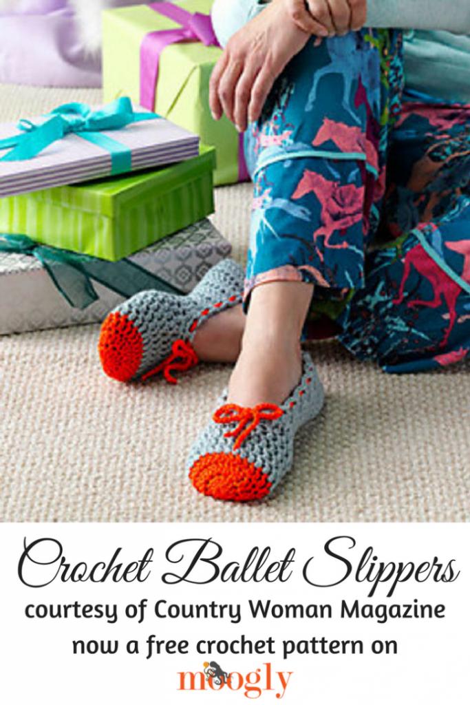 9a7215cda39e Crochet Ballet Slippers - free pattern on Mooglyblog.com!