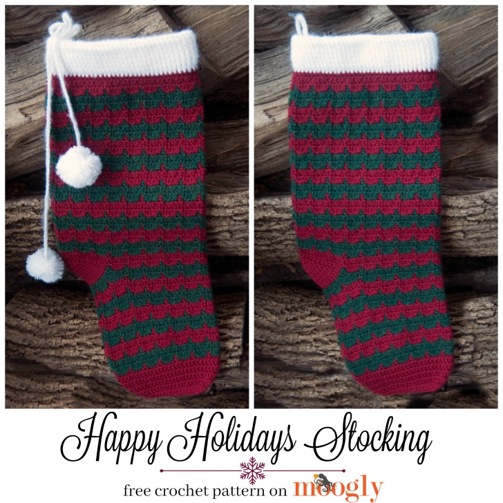 Happy Holidays Stocking - free crochet pattern on Mooglyblog.com!