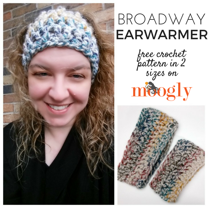 Broadway Earwarmer - free crochet pattern in 2 sizes on Mooglyblog.com! Make 2 with just one skein of Lion Brand Wool-Ease Thick & Quick!
