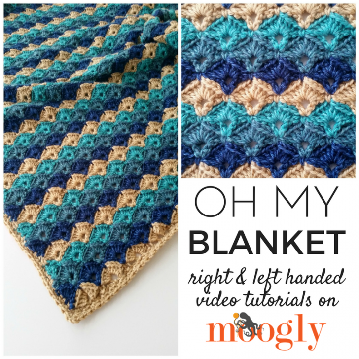 Oh My Blanket Tutorial - learn how to make this free crochet pattern both right and left handed - with video! Get the pattern and videos on Mooglyblog.com!