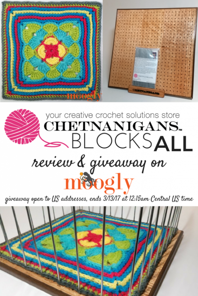 Chetnanigans BlocksAll - learn how to block your crochet and knitting easier and faster on Mooglyblog.com! And there's a giveaway too - open to US addresses only, ends 3/13/17 at 12:15am central US time.
